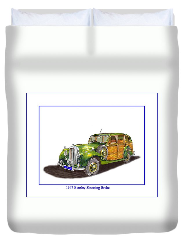Shooting Brake Or Duvet Cover featuring the drawing 1947 Bentley Shooting Brake by Jack Pumphrey