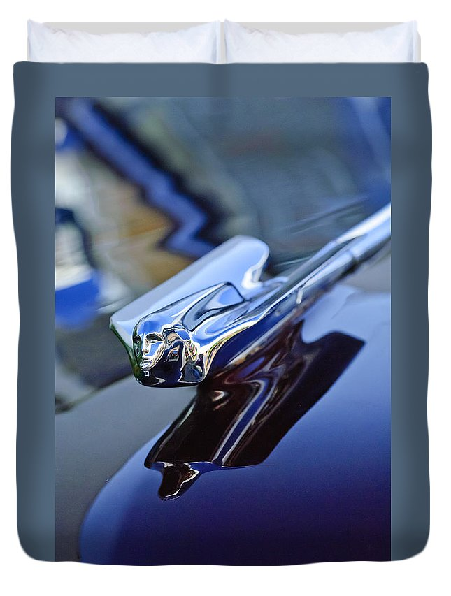 1947 Cadillac 62 Convertible Duvet Cover featuring the photograph 1947 Cadillac 62 Convertible Hood Ornament by Jill Reger