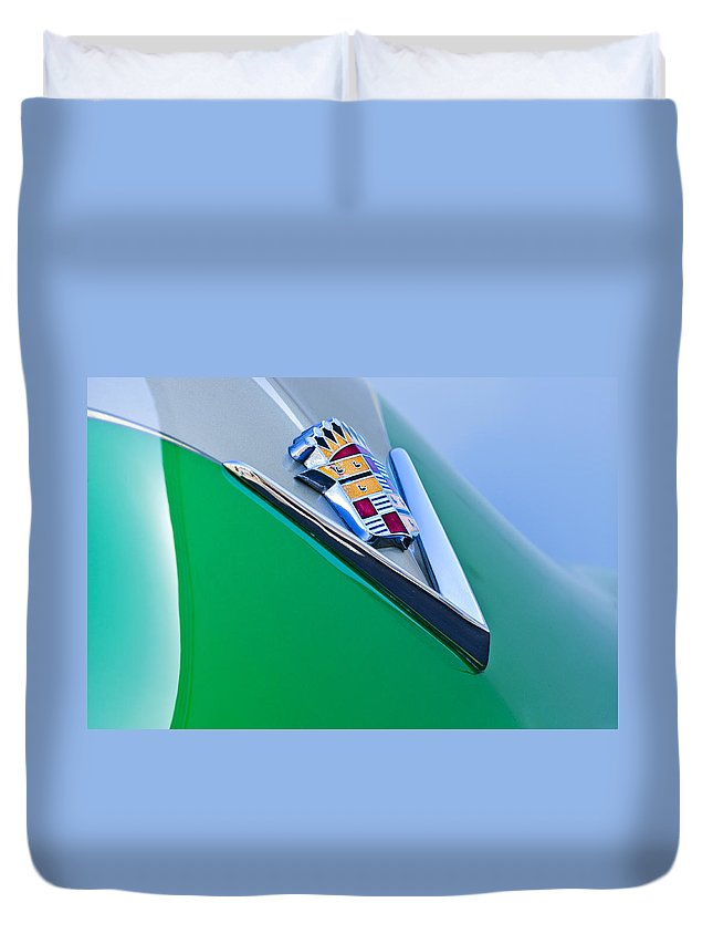 1948 Cadillac Duvet Cover featuring the photograph 1948 Cadillac Emblem by Jill Reger