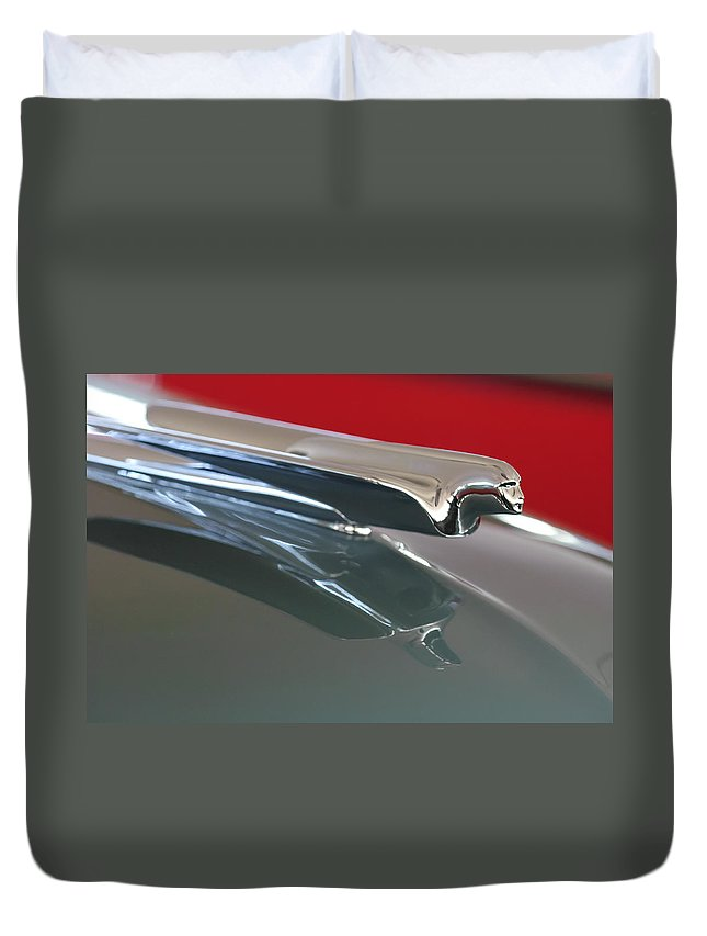 1948 Cadillac Series 62 Convertible Duvet Cover featuring the photograph 1948 Cadillac Series 62 Hood Ornament by Jill Reger