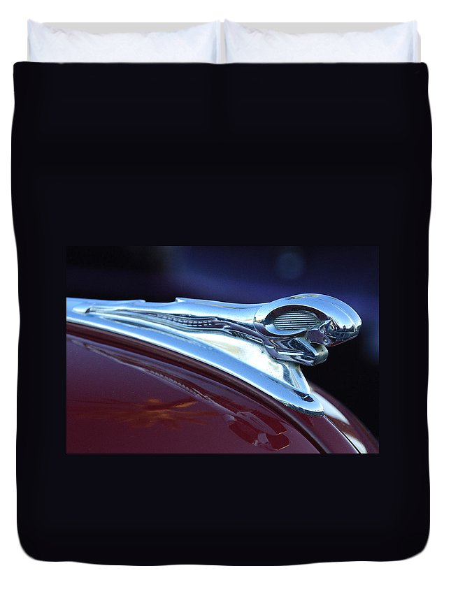 1948 Dodge Ram Duvet Cover featuring the photograph 1948 Dodge Ram Hood Ornament by Jill Reger