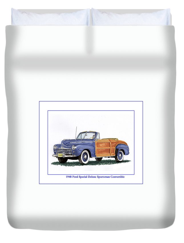 Automotive Prints Duvet Cover featuring the painting 1948 Ford Sportsman Convertible by Jack Pumphrey