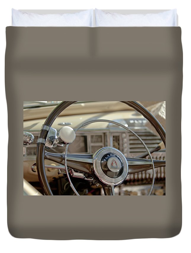 1948 Plymouth Deluxe Convertible Duvet Cover featuring the photograph 1948 Plymouth Deluxe Steering Wheel by Jill Reger
