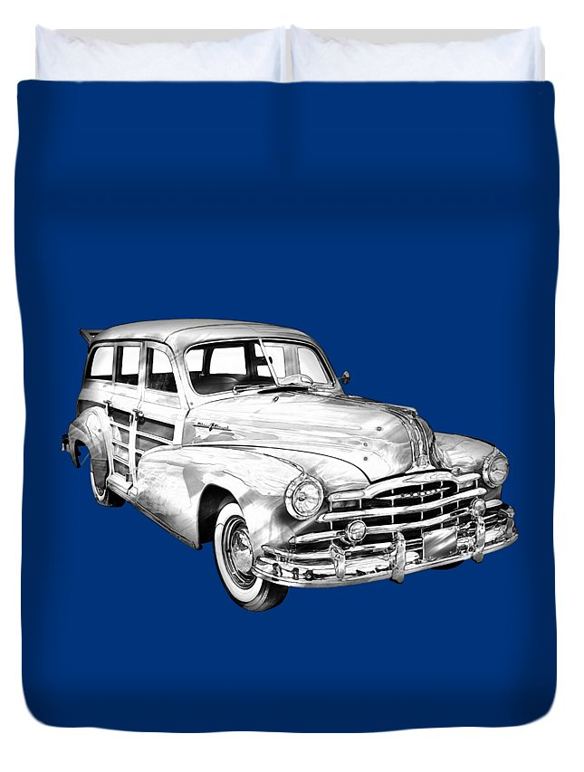 Old Duvet Cover featuring the photograph 1948 Pontiac Silver Streak Woody Illustration by Keith Webber Jr