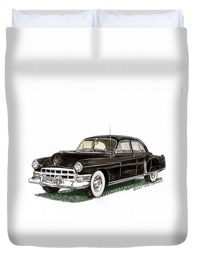 Framed Prints Of Cadillacs. Framed Canvas Prints Of Cadillac Fine Art. Famed Art Of Cadillac Hard Top Convertibles. Framed Art Of Great American Classic Cadillacs. Duvet Cover featuring the painting 1949 Cadillac Fleetwood Sedan by Jack Pumphrey