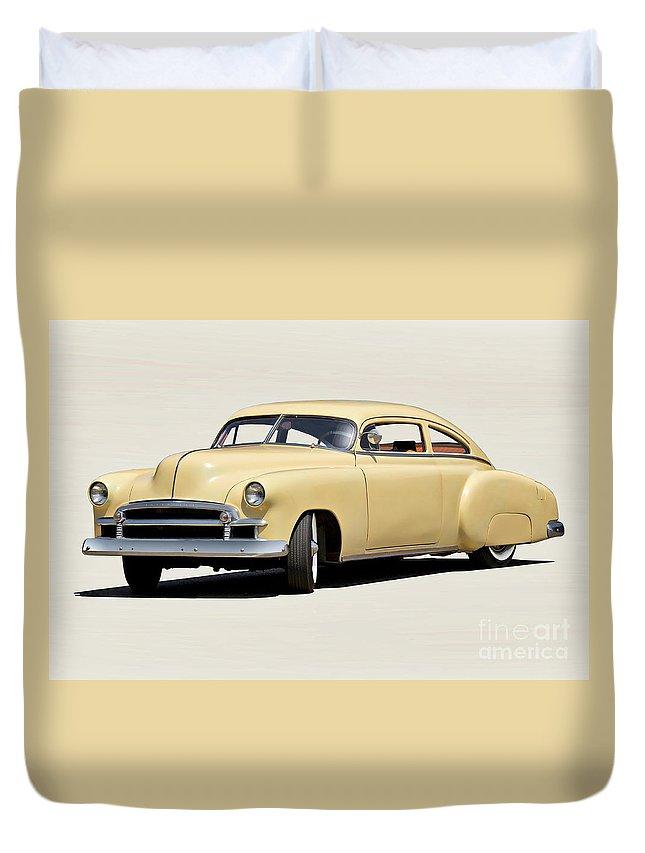 Auto Duvet Cover featuring the photograph 1949 Chevrolet Custom Fleetline Sedan II by Dave Koontz