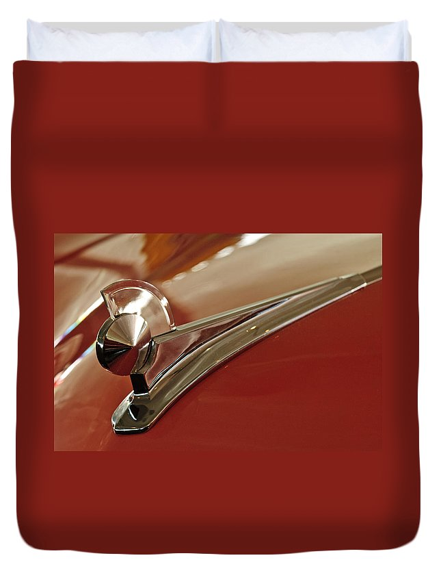 1949 Ford 2 Door Custom Duvet Cover featuring the photograph 1949 Ford Custom Hood Ornament by Jill Reger