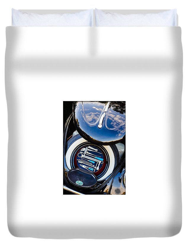 Volkswagen Duvet Cover featuring the photograph 1949 Volkswagen Tool Kit by Jill Reger