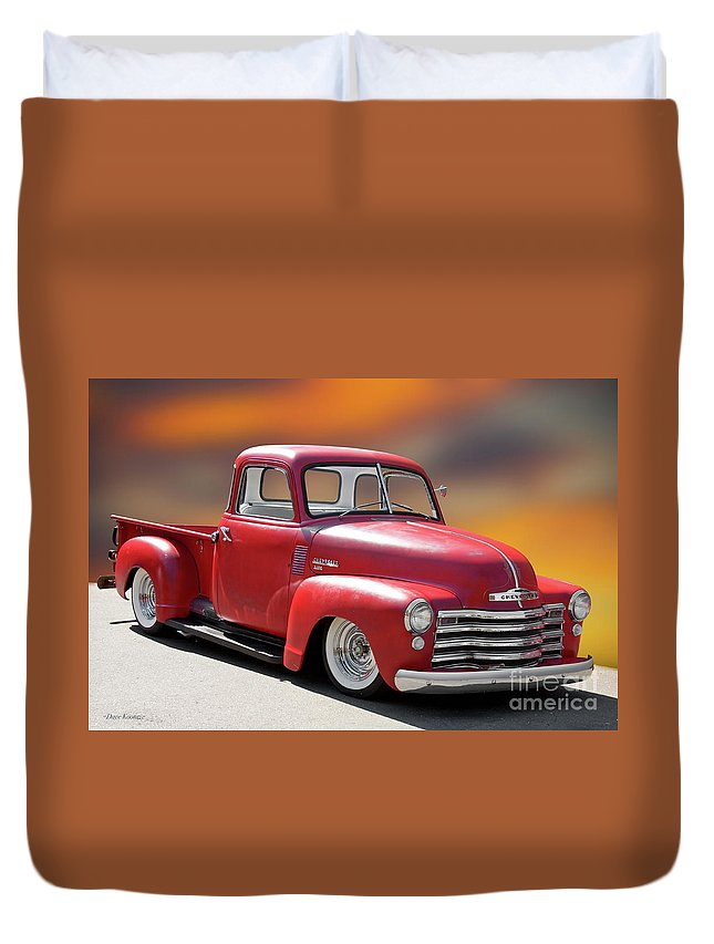 Automobile Duvet Cover featuring the photograph 1950 Chevrolet 3100 Pickup 'show Low' I by Dave Koontz