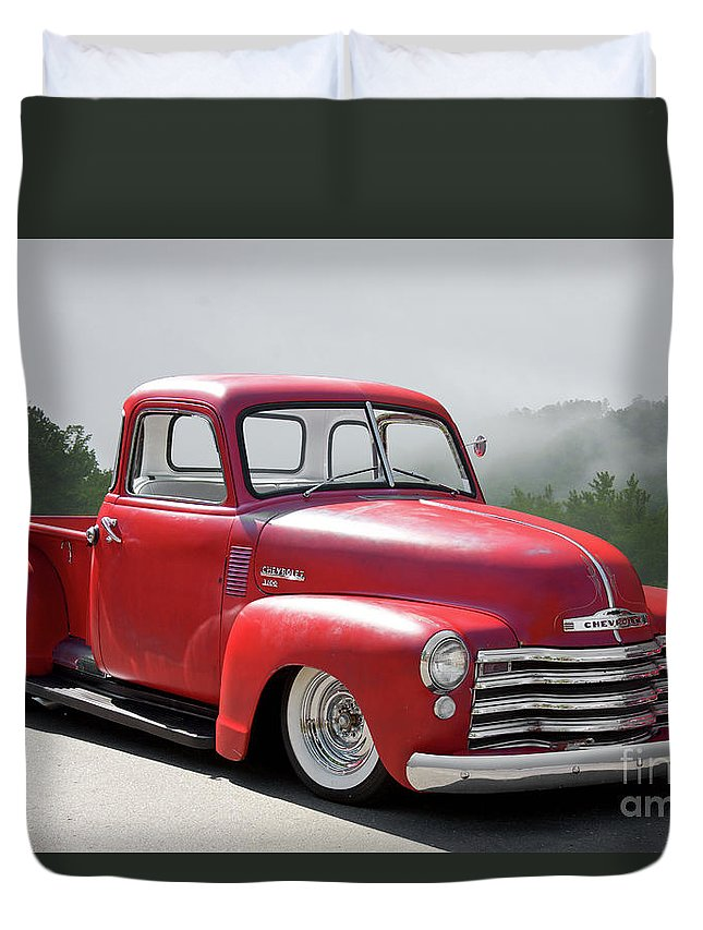 Automobile Duvet Cover featuring the photograph 1950 Chevrolet 3100 Pickup 'show Low' II by Dave Koontz