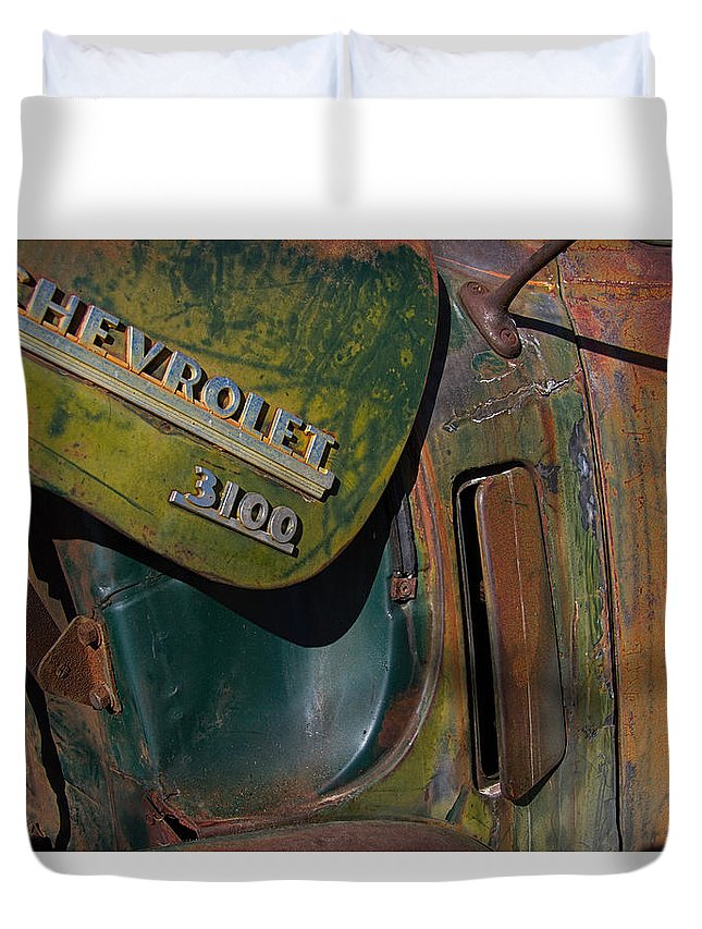 1950 Duvet Cover featuring the photograph 1950 Chevrolet Pickup Truck Emblem by Nick Gray