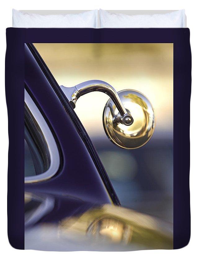 1950 Mercury Custome Lead Sled Duvet Cover featuring the photograph 1950 Mercury Custom Lead Sled Side Mirror by Jill Reger