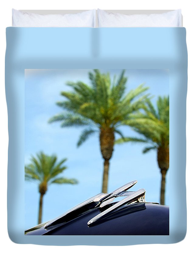 Car Duvet Cover featuring the photograph 1950 Oldsmobile Rocket 88 Convertible Hood Ornament And Palms by Jill Reger