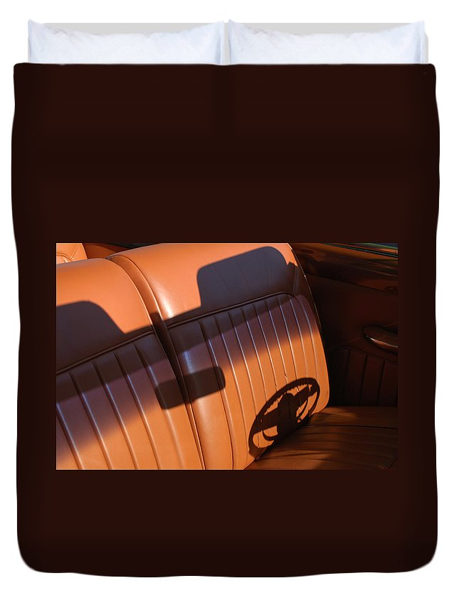 Car Duvet Cover featuring the photograph 1950 Oldsmobile Rocket 88 Convertible Interior by Jill Reger