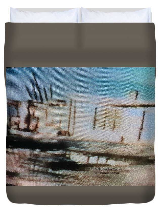 Abstract Duvet Cover featuring the photograph 1950's - At The Hopi Village by Willoughby Senior and Lenore Senior