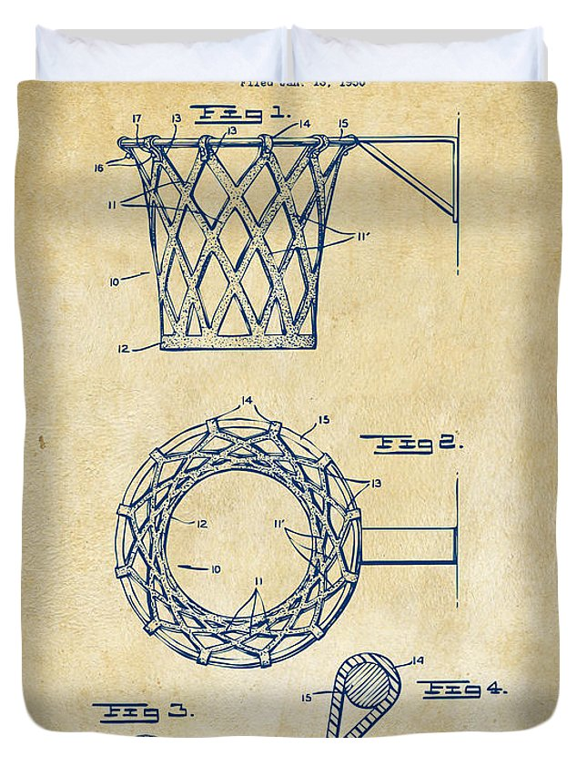 Basketball Duvet Cover featuring the digital art 1951 Basketball Net Patent Artwork - Vintage by Nikki Marie Smith