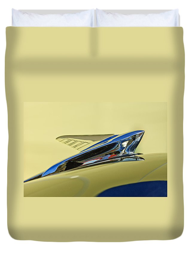 1951 Ford Duvet Cover featuring the photograph 1951 Ford Hood Ornament 2 by Jill Reger