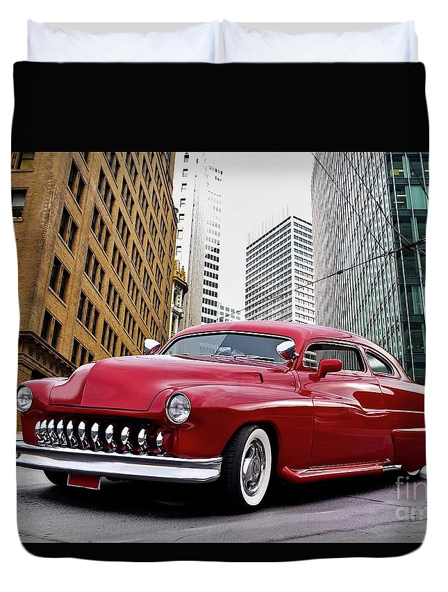 Auto Duvet Cover featuring the photograph 1951 Mercury 'candy Custom' Sled L by Dave Koontz
