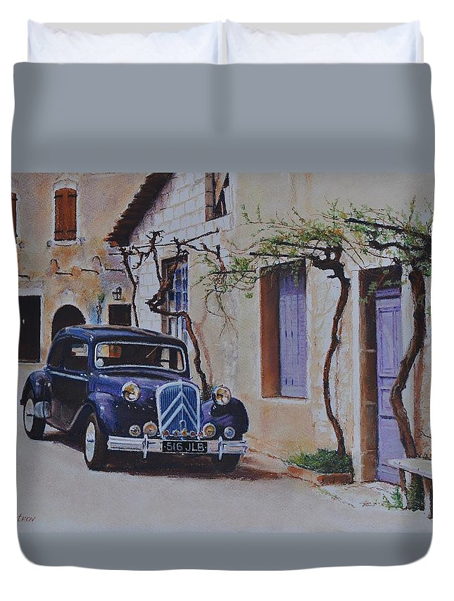 Classic Cars Duvet Cover featuring the painting 1951's Citroen by Iliyan Bozhanov