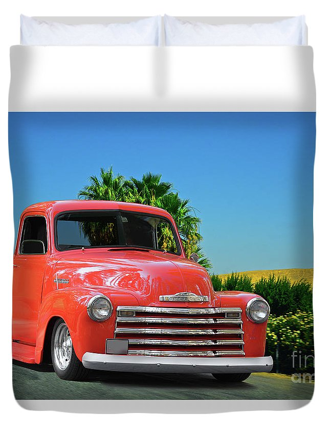 Automobile Duvet Cover featuring the photograph 1952 Chevrolet 3100 Pickup I by Dave Koontz