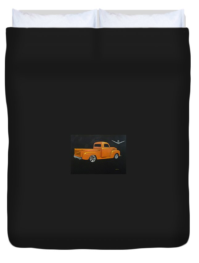 Truck Duvet Cover featuring the painting 1952 Ford Pickup Custom by Richard Le Page