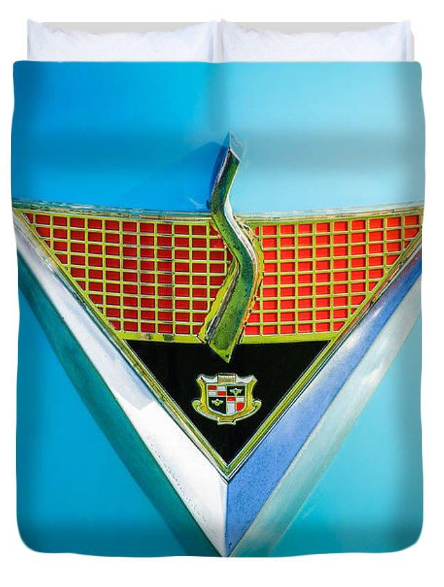 1952 Studebaker Duvet Cover featuring the photograph 1952 Studebaker Emblem by Jill Reger