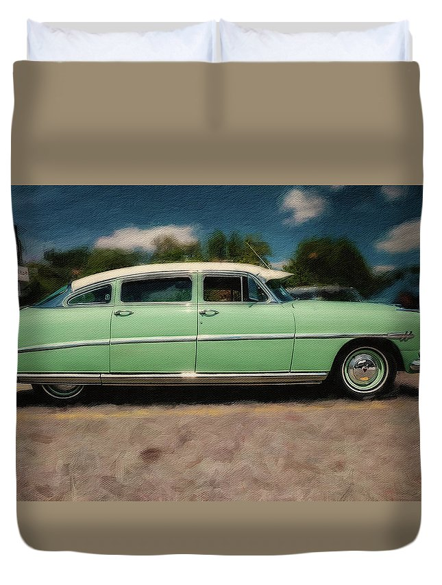Hudson Duvet Cover featuring the photograph 1953 Hudson Hornet by Rich Fiddelke