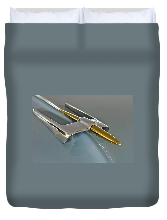 1953 Lincoln Duvet Cover featuring the photograph 1953 Lincoln Hood Ornament by Jill Reger