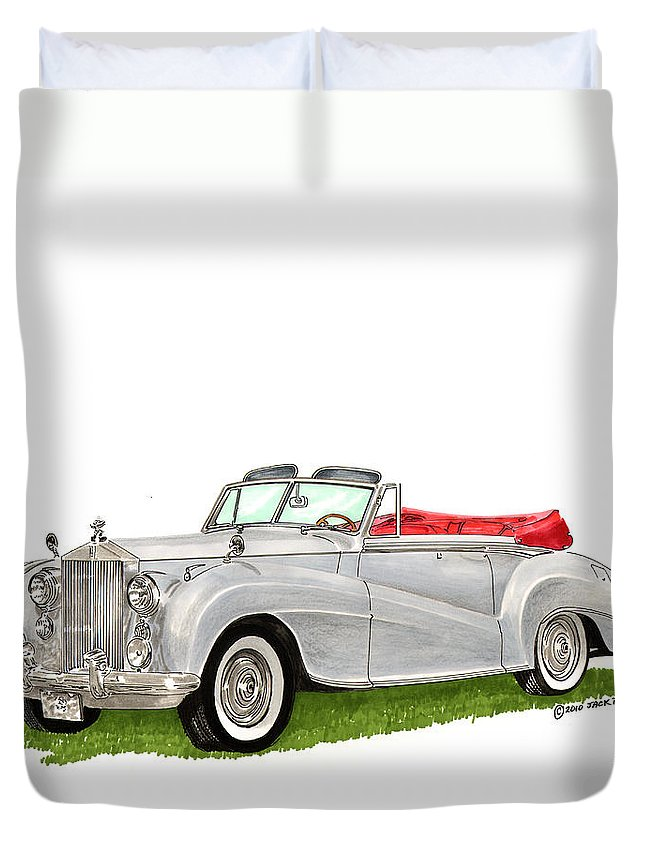 Classic Cars Of Europe Duvet Cover featuring the painting Rolls Royce Silver Dawn 1953 by Jack Pumphrey