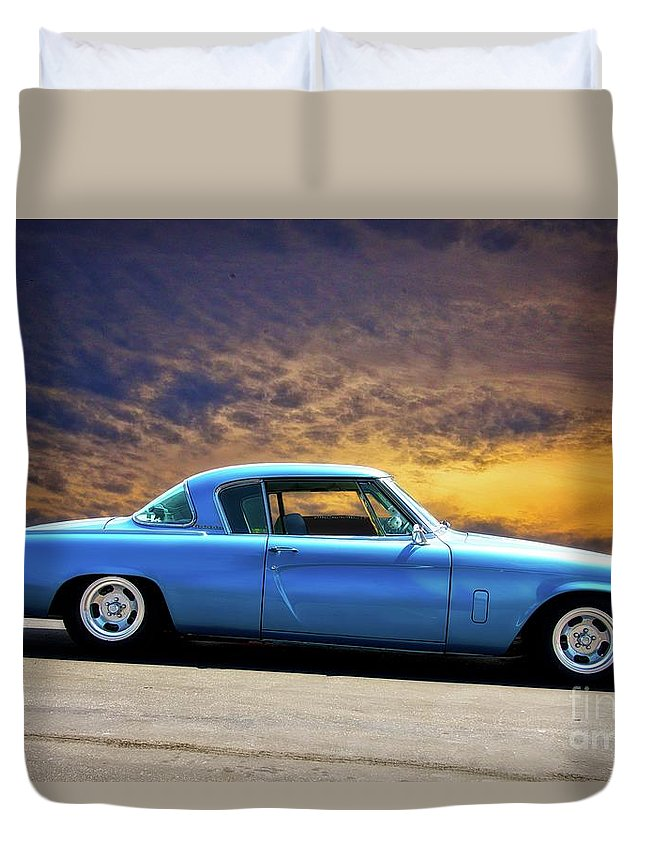 Auto Duvet Cover featuring the photograph 1953 Studebaker 'blue Streak' Commander by Dave Koontz