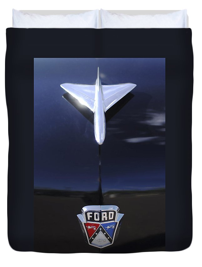 1954 Ford Duvet Cover featuring the photograph 1954 Ford Hood Ornament by Jill Reger