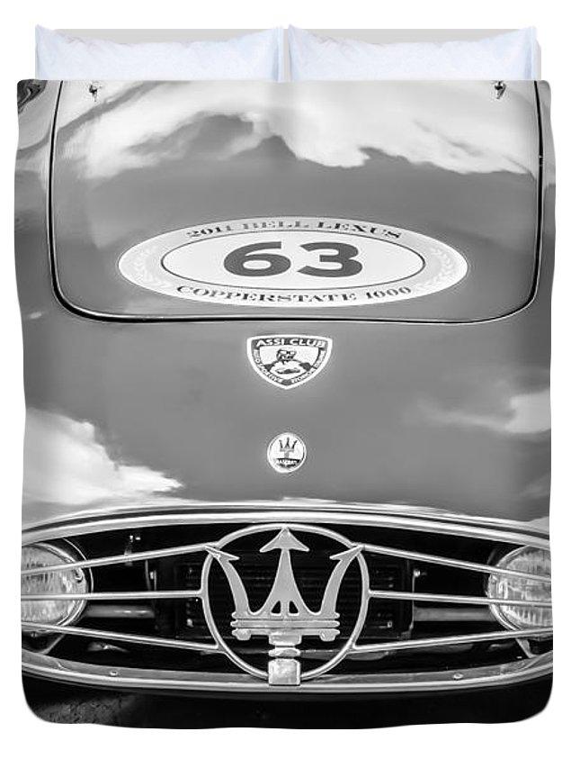 1954 Maserati A6 Gcs Duvet Cover featuring the photograph 1954 Maserati A6 Gcs -0255bw by Jill Reger