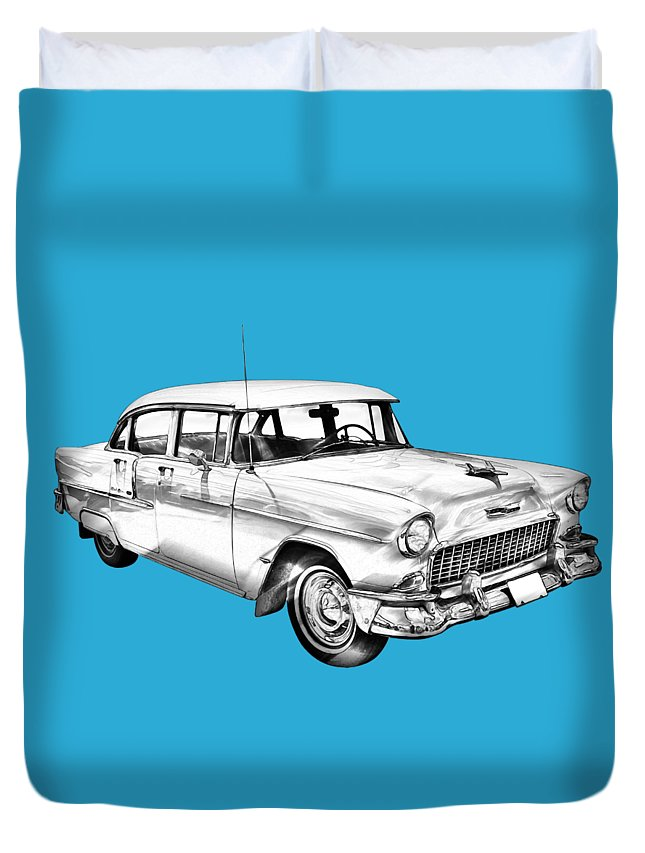 Car Duvet Cover featuring the photograph 1955 Chevrolet Bel Air Illustration by Keith Webber Jr