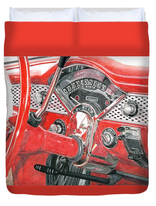 Classic Duvet Cover featuring the drawing 1955 Chevrolet Bel Air by Rob De Vries