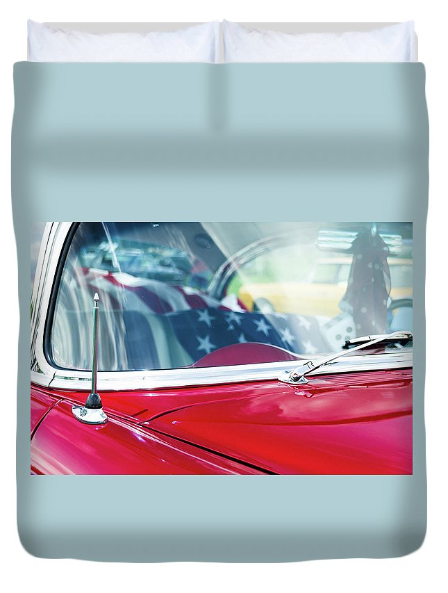 Gaetano Chieffo Duvet Cover featuring the photograph 1955 Chevy Bel Air With Flag by Gaetano Chieffo