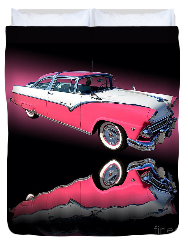 Car Duvet Cover featuring the photograph 1955 Ford Fairlane Crown Victoria by Jim Carrell