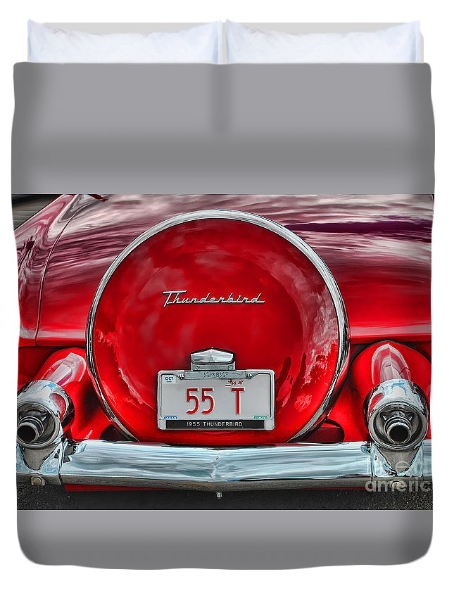 Car Duvet Cover featuring the photograph 1955 Thunderbird by Elaine Manley