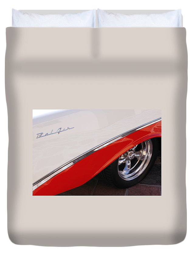 Chevy Duvet Cover featuring the photograph 1956 Chevrolet Belair Convertible Wheel by Jill Reger