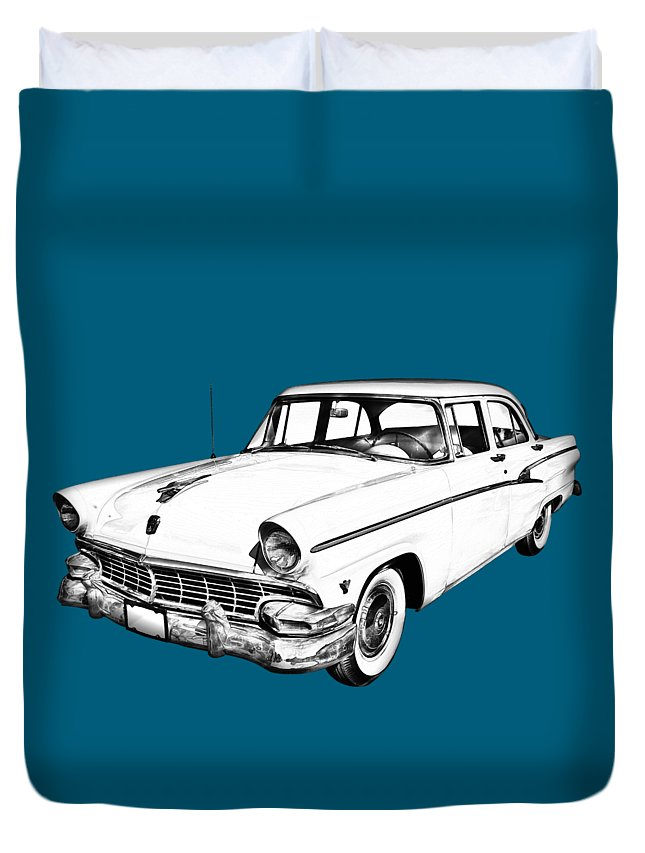1956 Ford Custom Line Duvet Cover featuring the photograph 1956 Ford Custom Line Antique Car Illustration by Keith Webber Jr