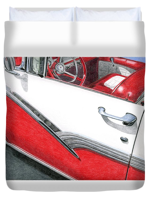 Americana Duvet Cover featuring the drawing 1956 Ford Fairlane Convertible 2 by Rob De Vries