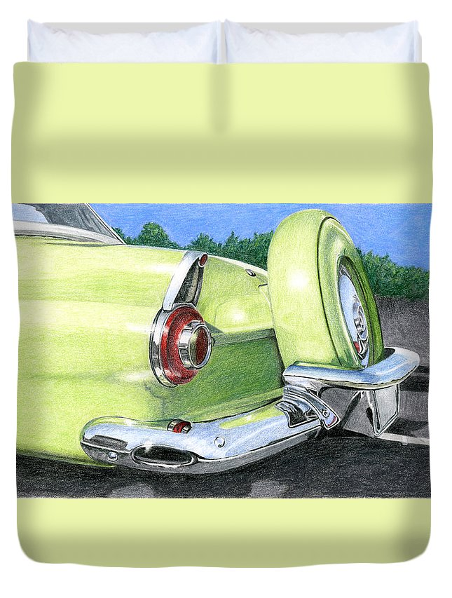 Classic Duvet Cover featuring the drawing 1956 Ford Thunderbird by Rob De Vries