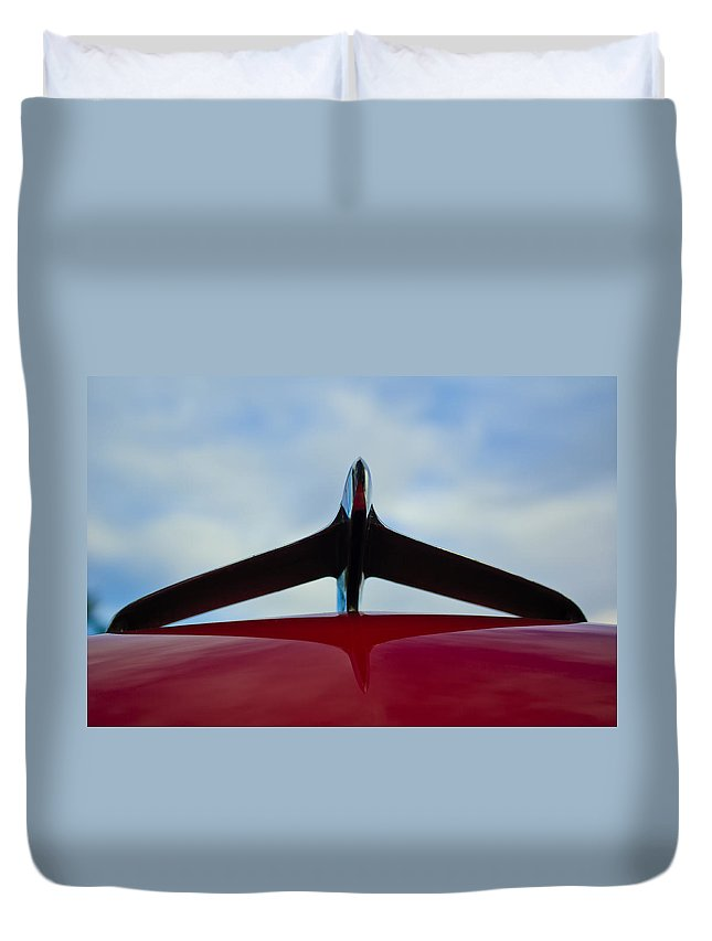 1956 Plymouth Duvet Cover featuring the photograph 1956 Plymouth Hood Ornament by Jill Reger