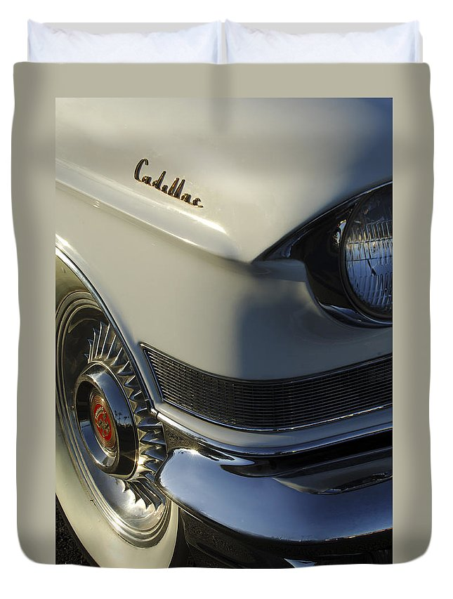 1957 Cadillac Duvet Cover featuring the photograph 1957 Cadillac Front End by Jill Reger