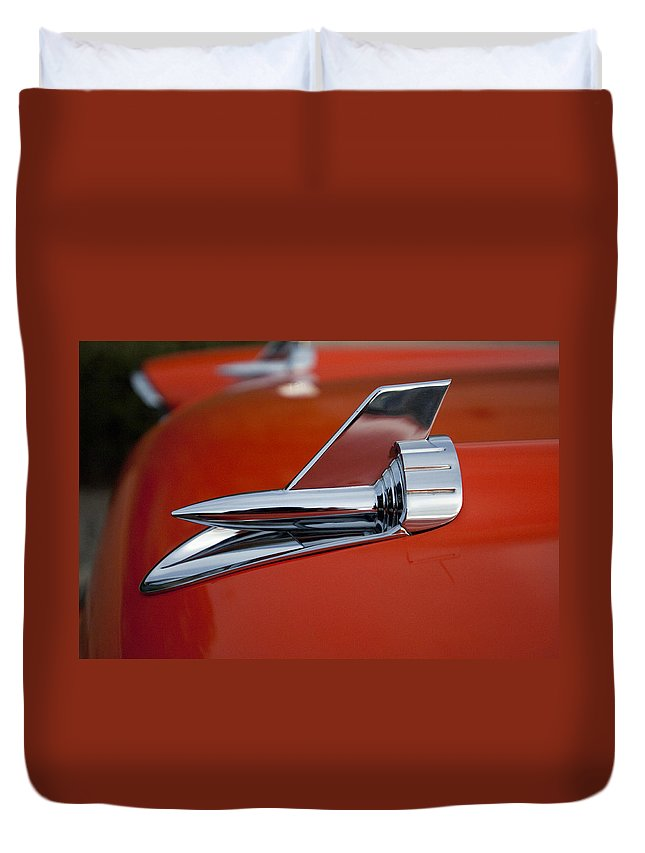 1957 Chevrolet Duvet Cover featuring the photograph 1957 Chevrolet Hood Ornament by Jill Reger