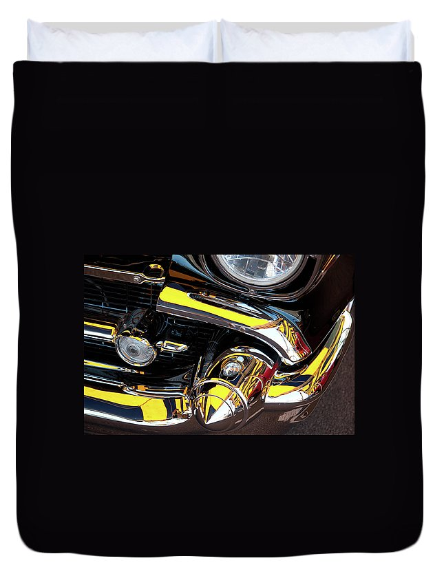 Vehicle Duvet Cover featuring the photograph 1957 Chevy by Roger Mullenhour