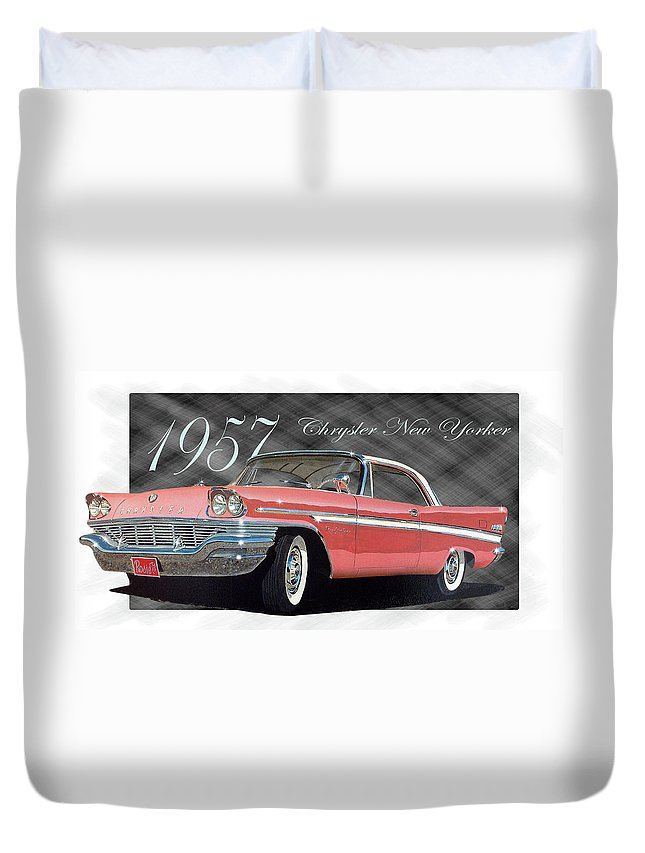 Car Duvet Cover featuring the painting 1957 Chrysler New Yorker by Richard Mordecki