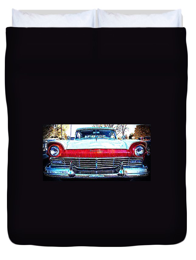 1957 Duvet Cover featuring the photograph 1957 Ford Fairlane by Bill Cannon