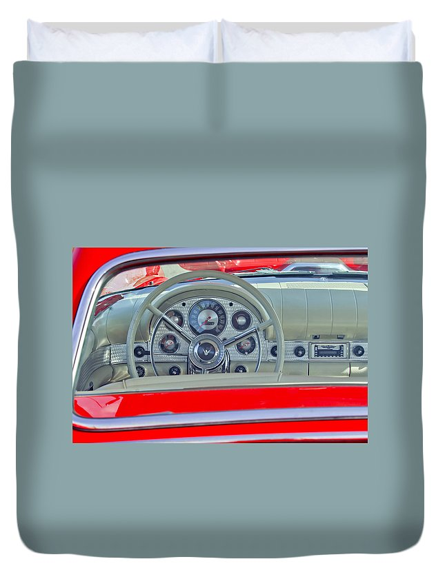 1957 Ford Thunderbird Duvet Cover featuring the photograph 1957 Ford Thunderbird Steering Wheel by Jill Reger