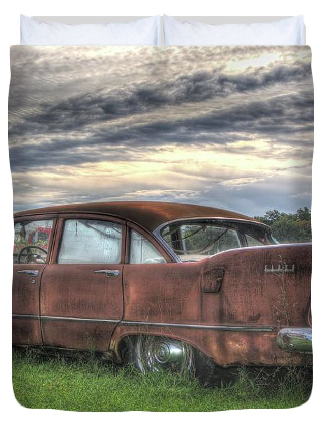 1958 Plymouth Savoy Duvet Cover featuring the photograph 1958 Plymouth Savoy by Steve Edwards