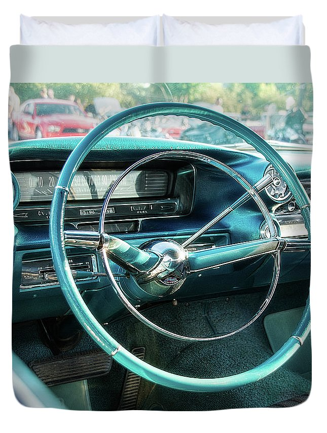 1950s Duvet Cover featuring the photograph 1959 Cadillac Sedan Deville Series 62 Dashboard by Jon Woodhams